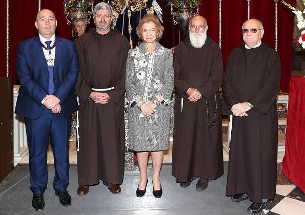 Queen Sofia attended the traditional thanksgiving ceremony in Madrid. Spanish royal family visits Jesus de Medinaceli Church