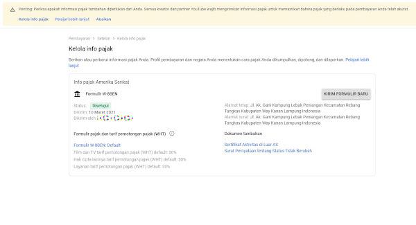 Informasi Pajak Google AdSense