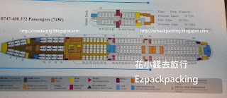 B747-400型號座位分佈圖
