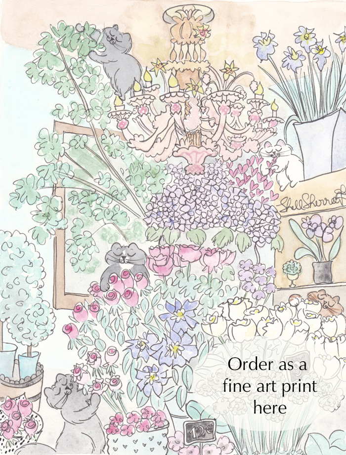 Feline Florists - Cats in Paris Flower Shop art illustration © Shell Sherree all rights reserved