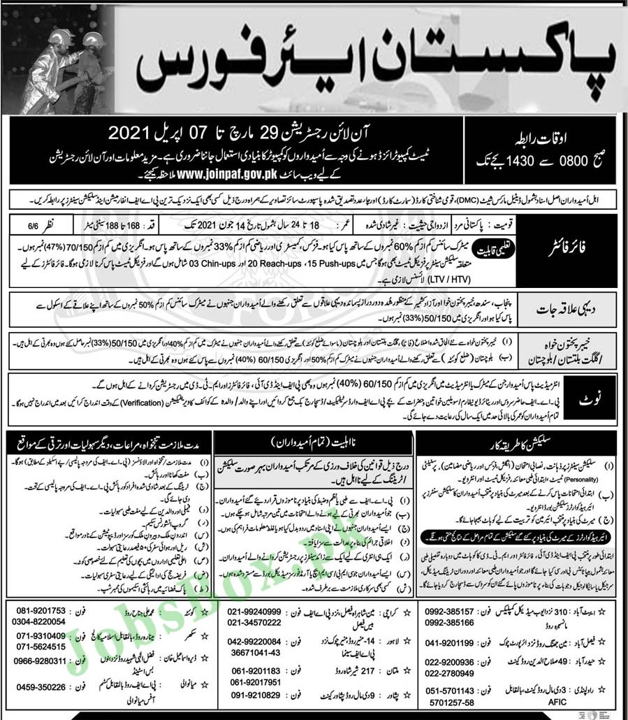 PAF 1122 Rescue jobs 2021