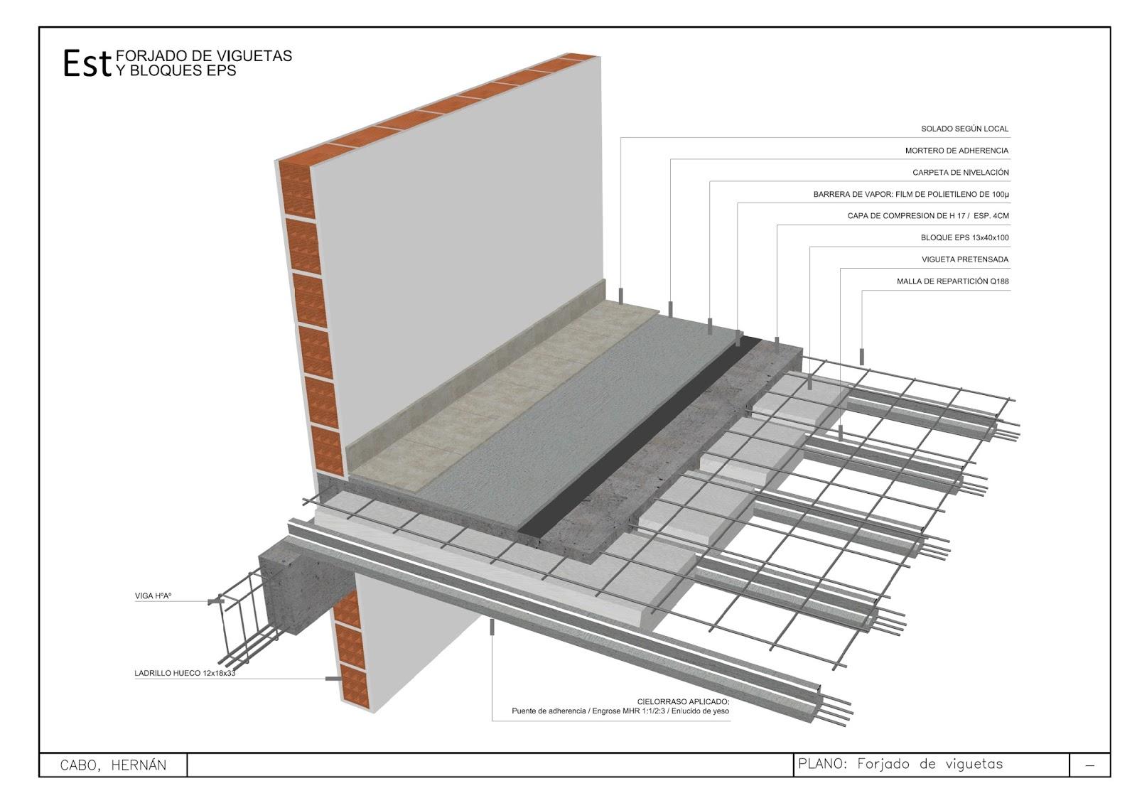 Detalles constructivos cad 3d forjado de viguetas y - Escalera metalica prefabricada ...