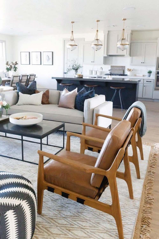 mid century modern farmhouse living room