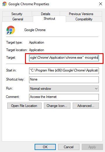 كيفية بدء تشغيل متصفح الانترنت في وضع التصفح الخاص افتراضيا