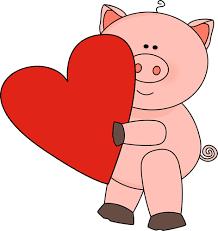 cerdito con corazón muy grande