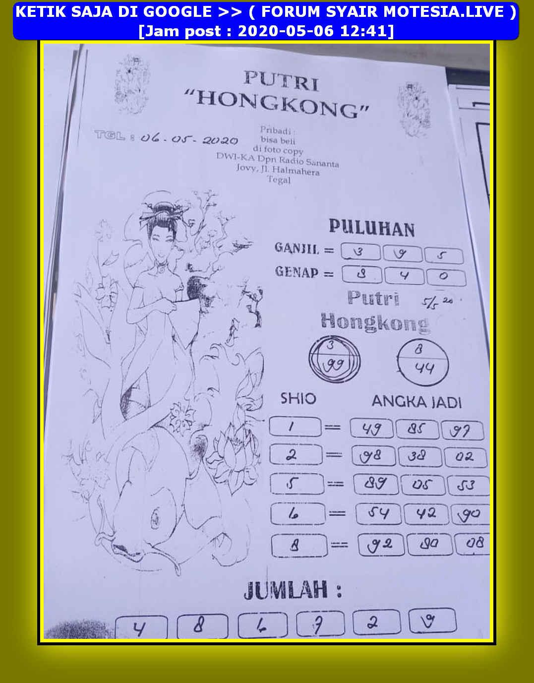 Kode syair Hongkong Rabu 6 Mei 2020 63