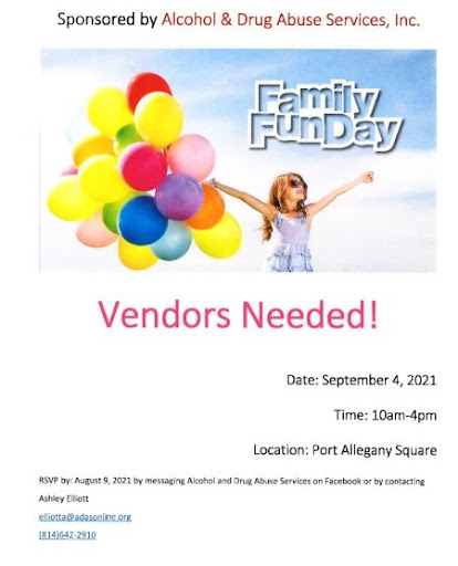 9-4 Vendors Needed For Family Fun Day