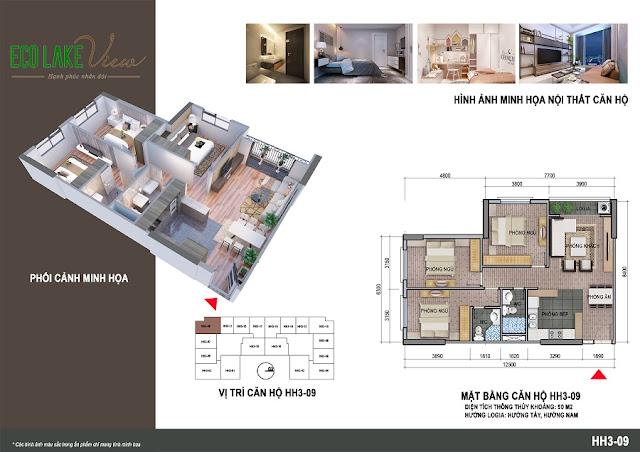 Thiết kế căn hộ 05 tòa HH-3 chung cư Eco Lake View
