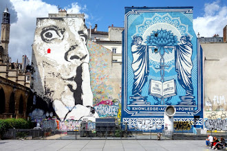 Sunday Street Art : Obey et Jef Aérosol - place Igor Stravinsky - Paris 4