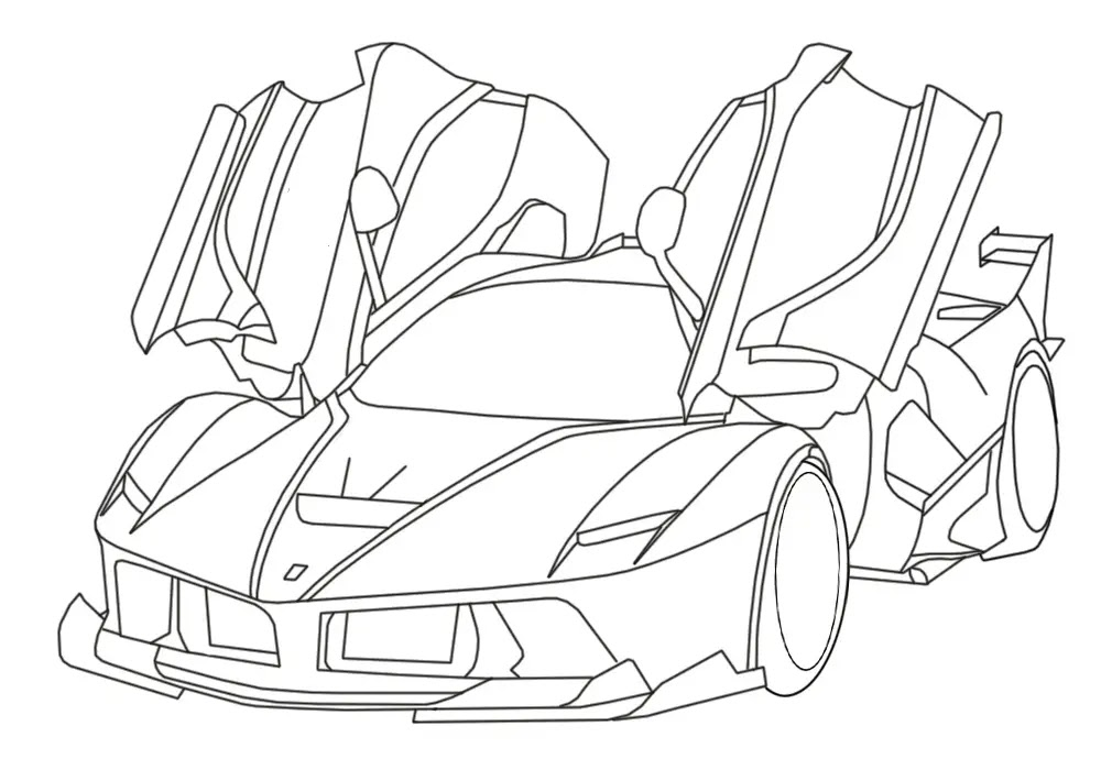 Menggambar Mobil Lamborghini dengan Huruf L