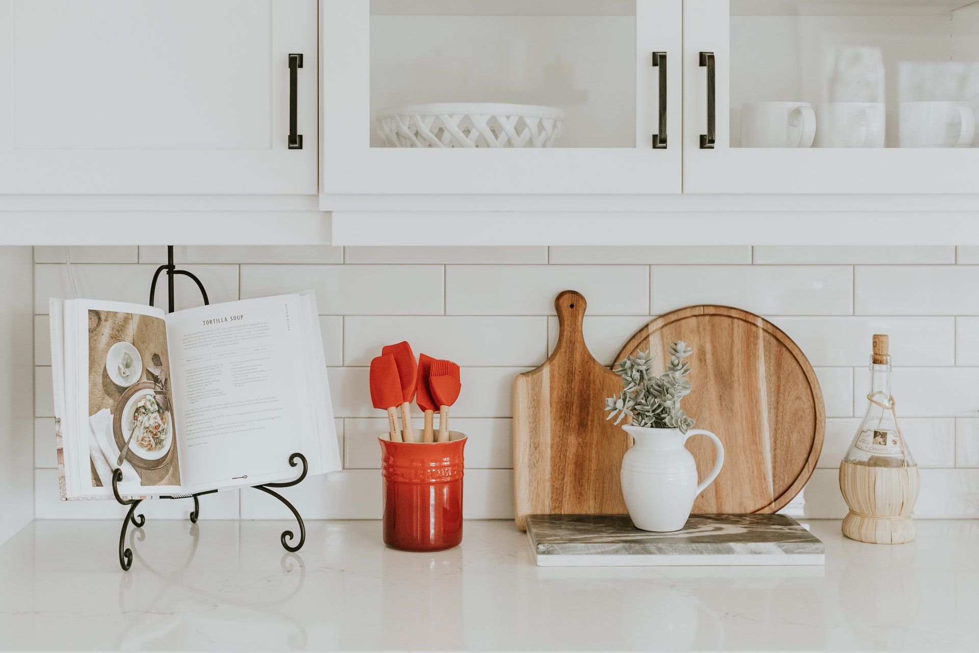 Kitchen counter with cookbook and kitchen accessories