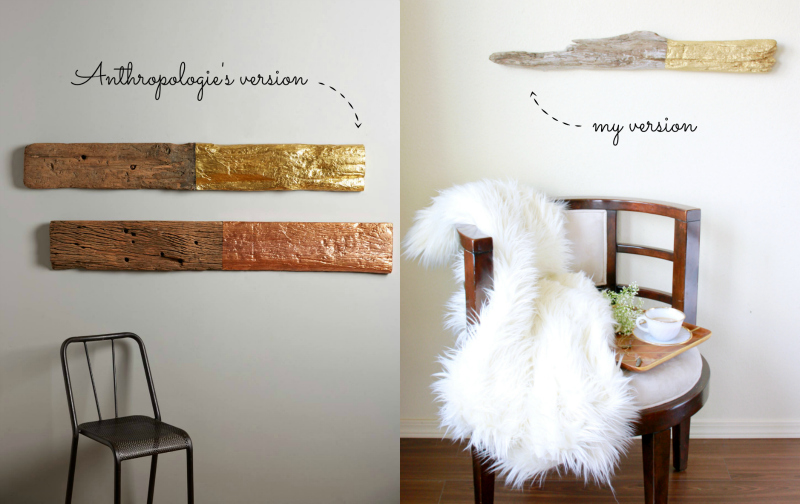 Beau DIY: Anthropologie Hack Gilded Driftwood Wall Art