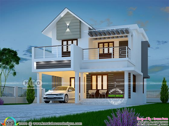 1580 sq-ft 3 BHK modern mixed roof home