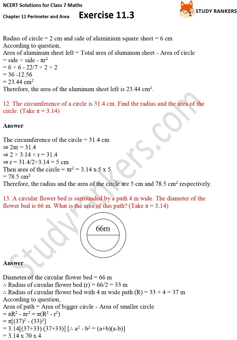 NCERT Solutions for Class 7 Maths Ch 11 Perimeter and Area Exercise 11.3 5