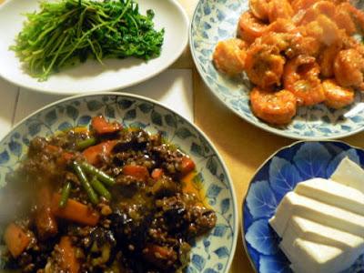 夕食の献立 献立レシピ 飽きない献立 レトルトセット 麻婆ナスとエビチリと豆苗