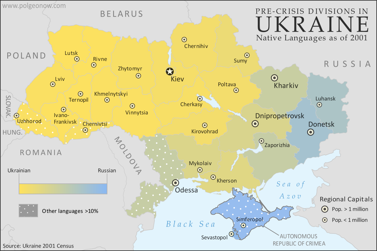 Map of languages in Ukraine by region (oblast), showing gradation between Ukrainian and Russian languages while marking regions with large proportions of residents with other native tongues