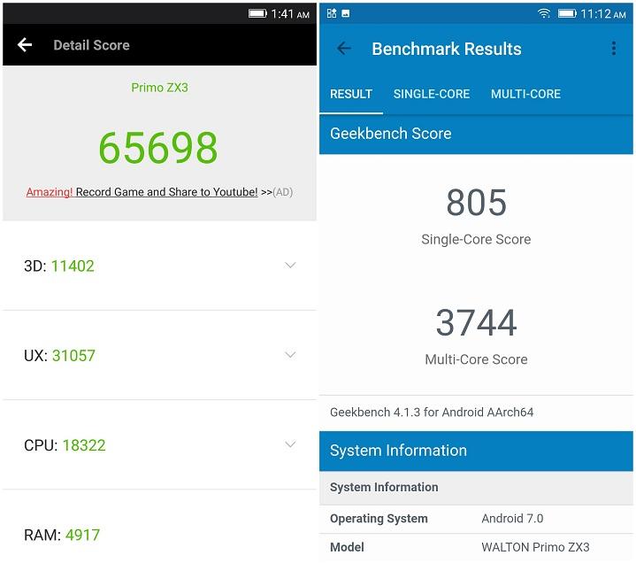 Primo ZX3 review AnTuTu Benchmark GeekBench Score হ্যান্ডস-অন রিভিউঃ ডুয়েল রেয়ার ক্যামেরার Walton Primo ZX3