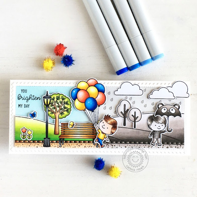 Sunny Studio Stamps: Spring Showers Floating By Spring Scenes Friendship Card by Candice Fisher