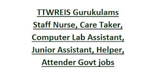TTWREIS Telangana Gurukulams Staff Nurse, Care Taker, Computer Lab Assistant, Junior Assistant, Helper, Attender Govt jobs Online Form