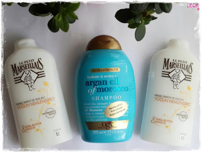 ogx, ogx şampuan, argan oil shampoo, morocco, argan yagi şampuan, le petit marseiliais, duş jeli, shea butter shower gel, shea butter, gratis,