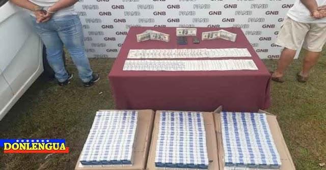 GNB detuvo a dos hombres por portar 74.550 dólares en efectivo