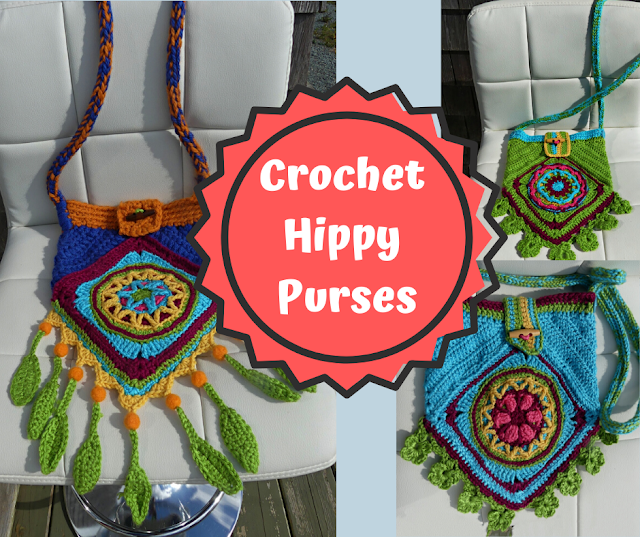 Crochet Hippy Purses designed by Minaz Jantz