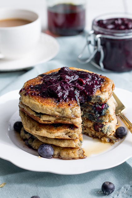 Pancake Day Healthy Recipe Blueberry, Lemon & Poppy Seeds, Vegan Pancake