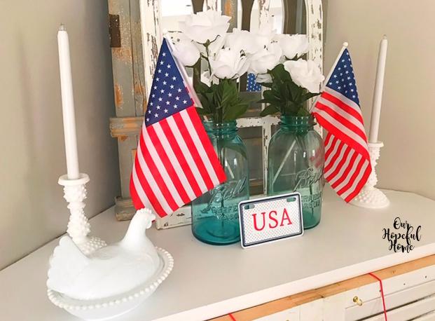 American flags blue Mason jars white faux flowers