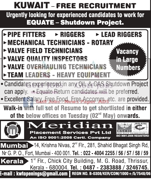 Equate Shutdown Project Jobs for Kuwait - free food ...