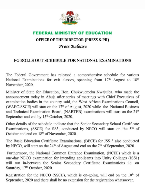 Finally Federal Government fixes date for National Examination Council  (NECO) and Common Entrance Examination (NCEE)