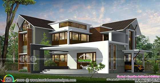 4040 sq-ft modern contemporary 5 bedroom home