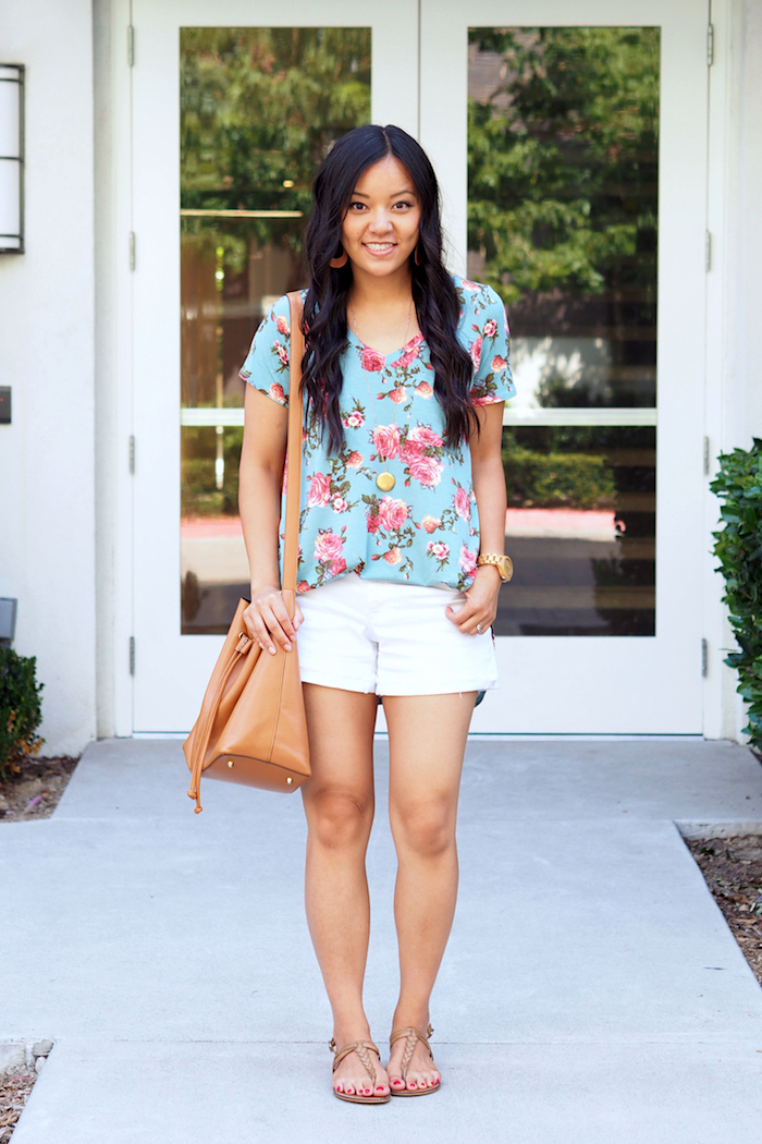summer outfit: turquoise floral print top + white shorts