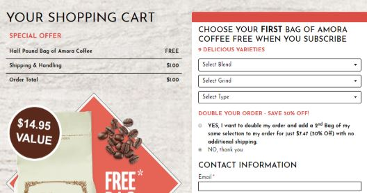 FREE Half-Pound Bag of Amora Coffee!