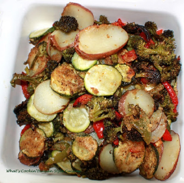 this is a dish of roasted vegetables