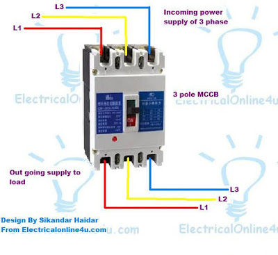3 Pole  4 Pole MCCB Wiring Diagrams and Installation | Electrical Online 4u