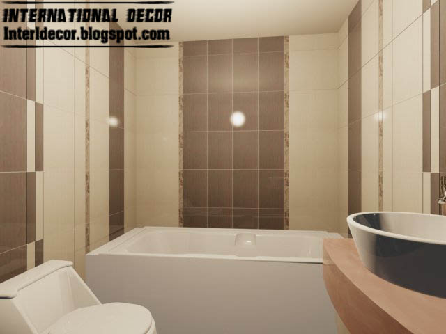 Small Bathroom Tile Design: Brown And Cream Bathroom Tiles With Lastest Type In