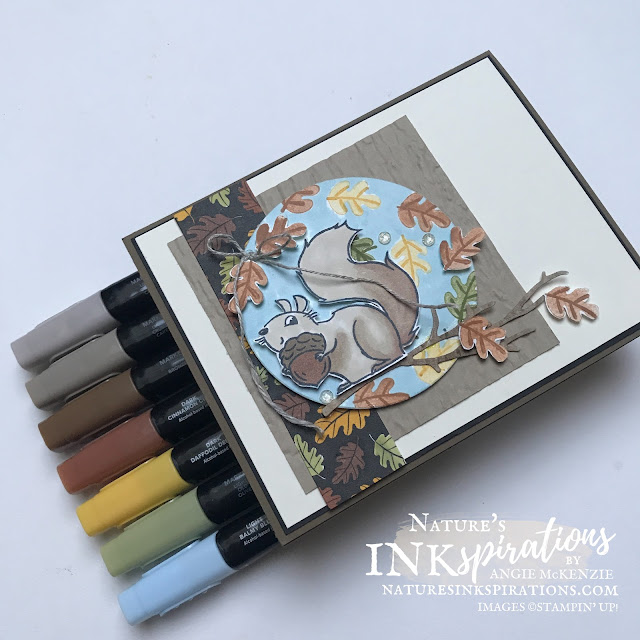 By Angie McKenzie for Stamping INKspirations Blog Hop; Click READ or VISIT to go to my blog for details!  Featuring the Nuts About Squirrels Photopolymer Stamp Set, Intricate Leaves Dies, Pattern Play Host Designer Series Paper, and Timber 3D Embossing Folder by Stampin' Up!® to create a harvest time themed card; #anyoccasioncard #nutsaboutsquirrels #timber #intricateleaves #coloringwithblends  #stampinginkspirationsbloghop #naturesinkspirations #squirrelwithacorn #squirrels #handmadecards