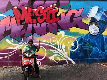 Lukisan Mural Bertemakan Petugas Barisan Hadapan menangani wabak covid19