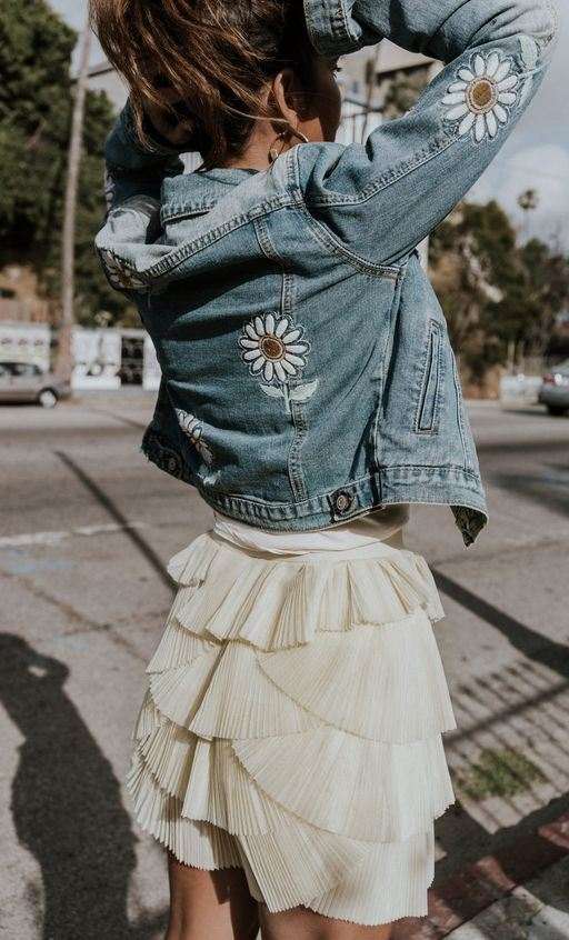 yellow ballerina skirt and embroidered denim jacket