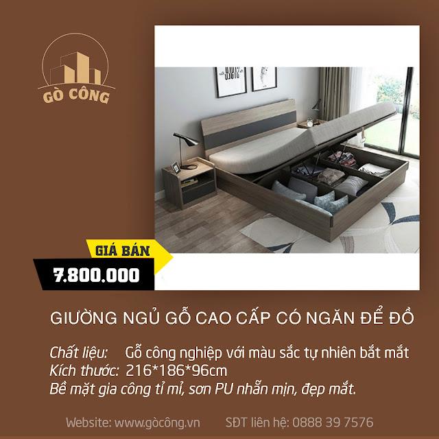 Giường ngủ gỗ cao cấp có ngăn để đồ, giường ngủ bằng gỗ MGK023