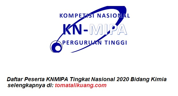 Daftar Peserta KNMIPA Tingkat Nasional 2020 Bidang Kimiai tomatalikuang.com