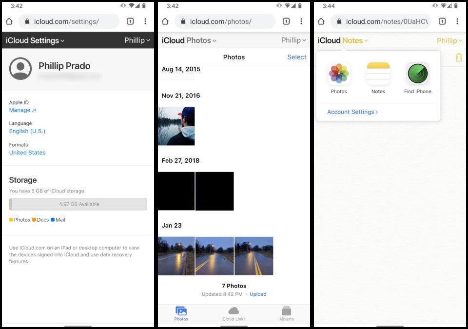 خدمة Apple iCloud على هاتف Android