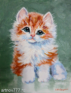 Рыжий-котёнок-картина-маслом