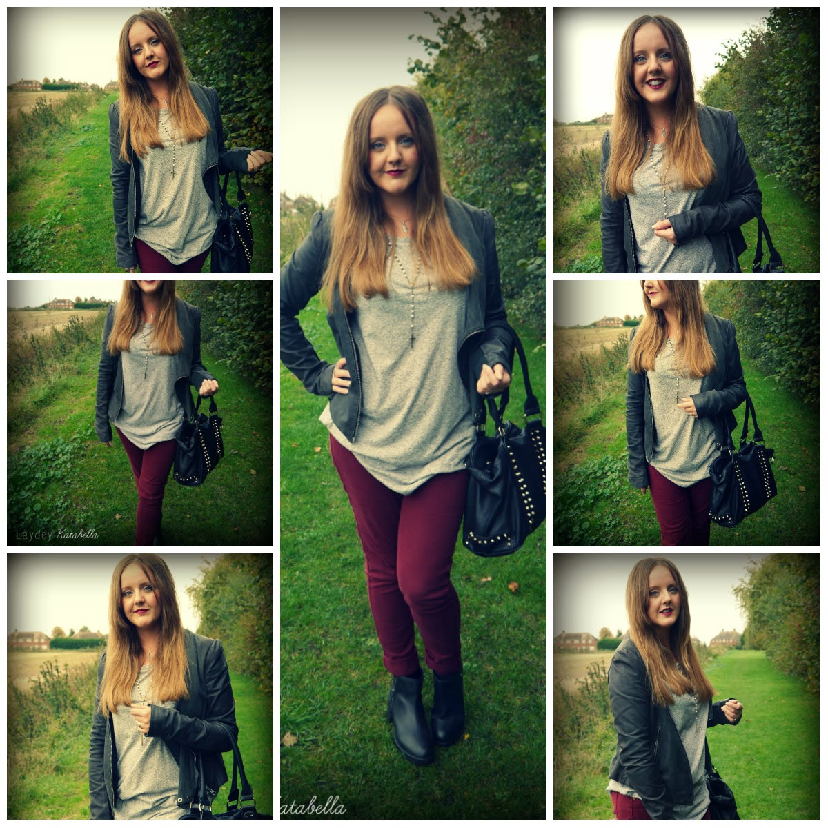 photo of allsaints jacket, new look jeans, H&M grey t-shirt, new look boots, TK Maxx Bag