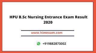 HPU B.Sc Nursing Entrance Exam Result 2020