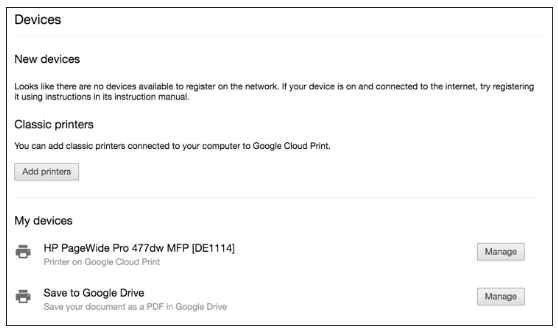 Google Cloud Print Add Printer