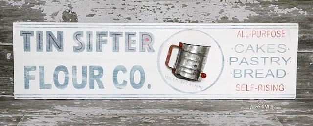 Vintage Tin Sifter Sign Bliss-Ranch.com