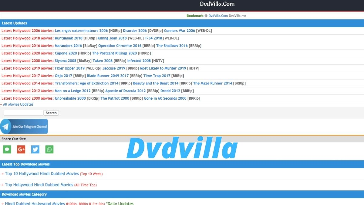 DVDVilla 2020 - DVDVilla Download Latest Bollywood, Chinese, Hollywood HD Movies Illegally