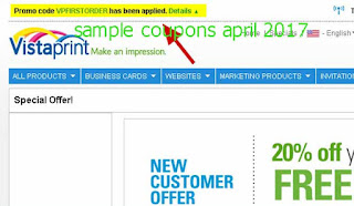 free Vistaprint coupons april 2017