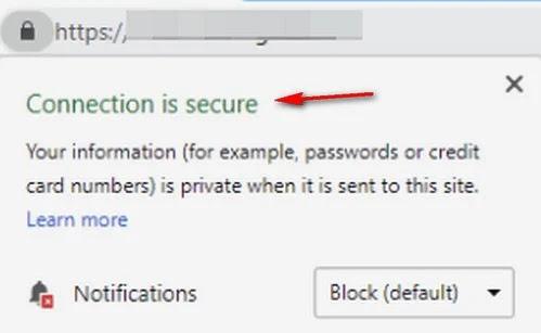 صورة موقع بستخدم تشفير أمن Secure